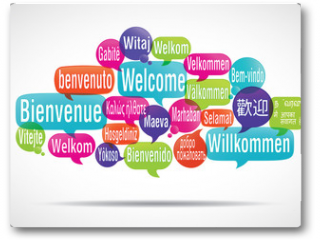 Plakat - nuage de mots bulles : bienvenue traduction