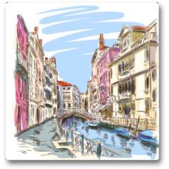 Plakat - Venice - Fondamenta Rio Marin. Vector sketch
