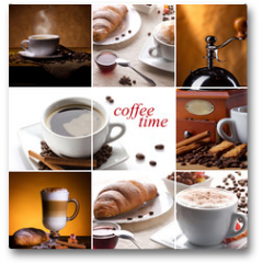 Plakat - coffee collage with different cups, coffee mill and croissant