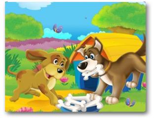 Plakat - The life on the farm - illustration for the children