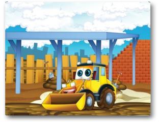 Plakat - The cartoon digger - illustration for the children