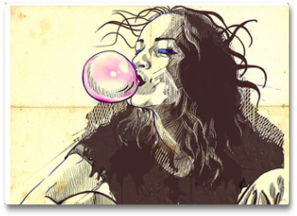 Plakat - young woman blowing bubble from chewing gum