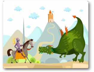 Plakat - dragon and knight