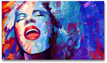 Plakat - jazz singer on grunge background