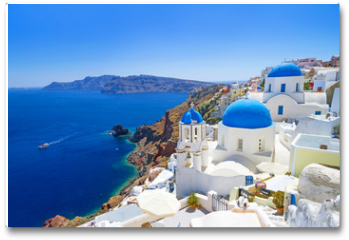 Plakat - White architecture of Oia village on Santorini island, Greece