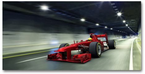 Plakat - red racecar in a tunnel