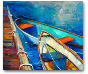 Plakat - Boats and pier