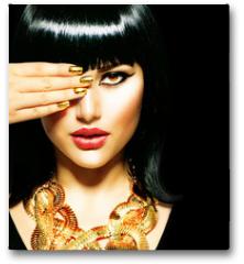 Plakat - Beauty Brunette Egyptian Woman.Golden Accessories