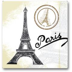 Plakat - France, Paris - hand drawn Eiffel tower