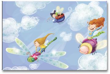 Plakat - niñas volando
