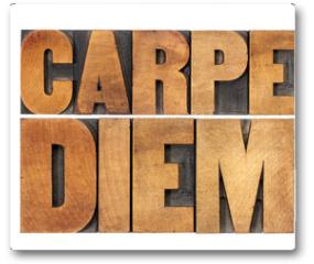 Plakat - Carpe Diem in wood type