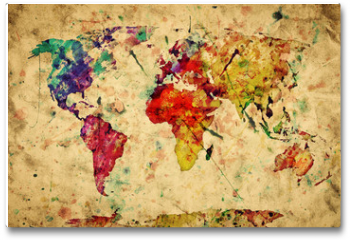 Plakat - Vintage world map. Colorful paint, watercolor on grunge paper