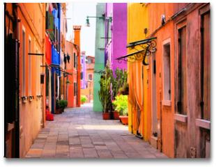 Plakat - Colorful street in Burano, near Venice, Italy