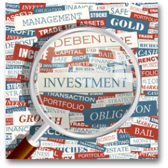 Plakat - INVESTMENT. Word cloud concept illustration.