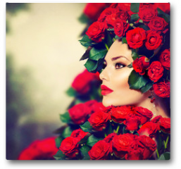 Plakat - Beauty Fashion Model Girl Portrait with Red Roses Hairstyle
