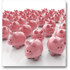 Plakat - Sparschweine Gruppe - Geld sparen / 3D Illustration