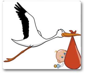 Plakat - Stork and baby