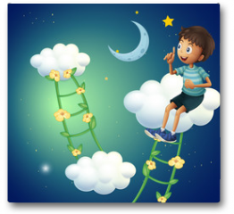 Plakat - A boy sitting at the cloud
