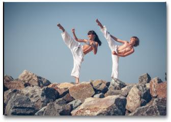 Plakat - Children training karate on the stone coast
