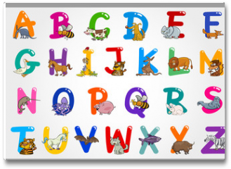 Plakat - Cartoon Alphabet with Animals Illustrations