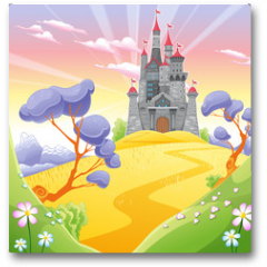 Plakat - Landscape with tower.