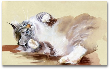 Plakat - Watercolor Animal Collection: Cat