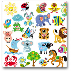 Plakat - set  with pictures for children