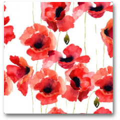 Plakat - Stylized Poppy flowers illustration
