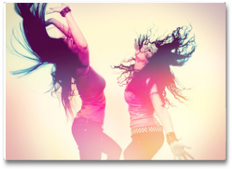 Plakat - dancing girls with light effect / disco disco 02