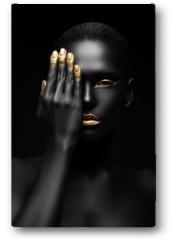 Plakat - dark-skinned woman with golden make-up.