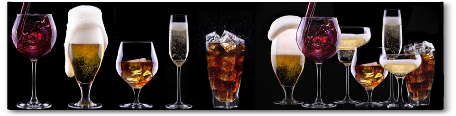 Plakat - alcohol drinks set isolated on a black