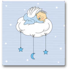 Plakat - baby boy sleeping on a cloud. Birthday Card