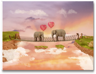 Plakat - Two elephants on a bridge in the sky with balloons. Illustration