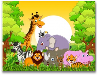 Plakat - cute animal wildlife with forest background