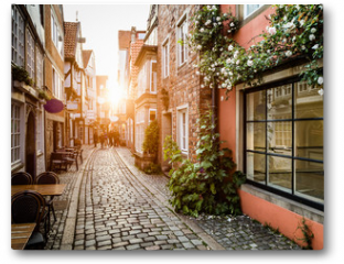 Plakat - Historic Schnoorviertel at sunset in Bremen, Germany