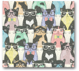 Plakat - Seamless pattern with hipster cute cats for children