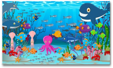 Plakat - Sea life cartoon background