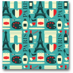 Plakat - Seamless Paris Background