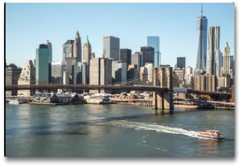 Plakat - New York City Brooklyn Bridge downtown skyline