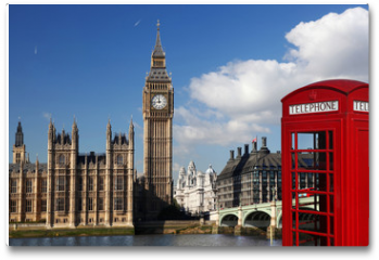Plakat - Big Ben with red telephone box in London, England
