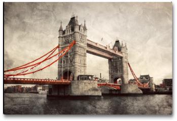 Plakat - Tower Bridge in London, England, the UK. Vintage style