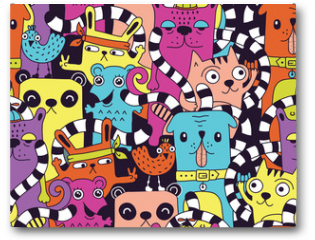 Plakat - Seamless pattern with cute funny animals