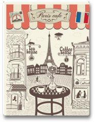Plakat - Parisian street restaurant with views of the Eiffel Tower