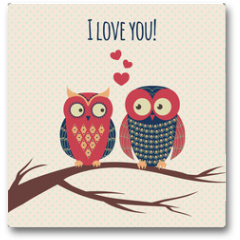 Plakat - Vector colorful illustration with two owls in love