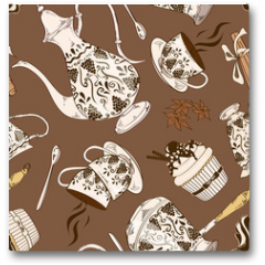 Plakat - Seamless pattern of coffee service