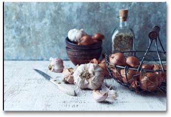 Plakat - Still Life with Shallots and Garlic