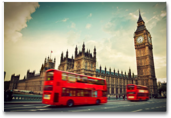 Plakat - London, the UK. Red bus in motion and Big Ben