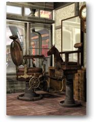 Plakat - Orientalny salon fryzjerski retro