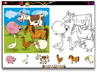 Plakat - farm animals coloring page set