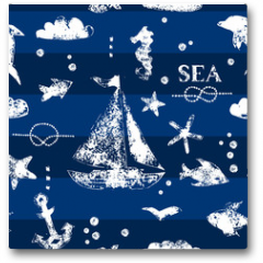 Plakat - White print boat and fishes on navy blueseamless pattern